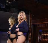 Jess Davies teasing in her blue slit dress and panties 9