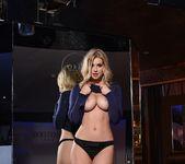 Jess Davies teasing in her blue slit dress and panties 11