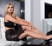 Jess Davies teasing in her black leather skirt and top 7