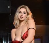 Jess Davies teases in black and red lingerie 14