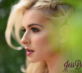 Jess Davies teasing in the garden in white lingerie 4