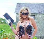 Jodie Gasson strips outdoors from her secret agent attire 2