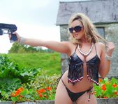 Jodie Gasson strips outdoors from her secret agent attire 3