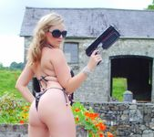 Jodie Gasson strips outdoors from her secret agent attire 4