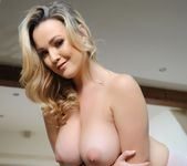 Jodie Gasson teases in her denim shorts and pink lingerie 14