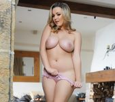 Jodie Gasson teases in her denim shorts and pink lingerie 16