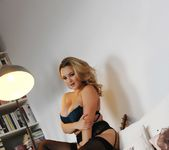 Jodie Gasson teasing in her dark blue lingerie and stockings 8