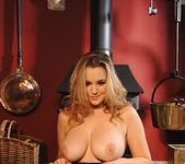 Jodie Gasson teasing in her grey print bodysuit 7