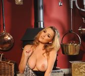Jodie Gasson teasing in her grey print bodysuit 8