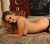Jodie Gasson teasing in her grey print bodysuit 15