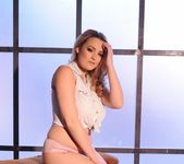 Jodie Gasson teasing in her tie top and panties 5