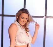 Jodie Gasson teasing in her tie top and panties 6
