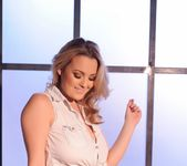 Jodie Gasson teasing in her tie top and panties 7