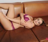 Jodie Gasson teasing in purple lingerie 4