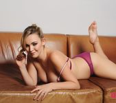 Jodie Gasson teasing in purple lingerie 7