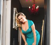 Jodie strips out of her aqua green dress 3