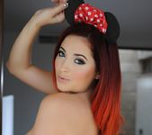 Lucy V wearing her sexy black lingerie and Mouseketeer Ears 16