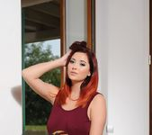 Lucy V teases in her red tank top and grey stockings 2
