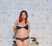 Lucy V teases in her polka dot bras and panties on the 8