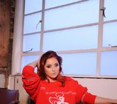 Lucy V teases on the sofa, while in her red Xmas sweater 6