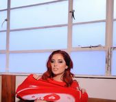Lucy V teases on the sofa, while in her red Xmas sweater 7