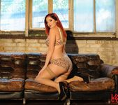 Lucy V seduces us in her leopard print lingerie 3