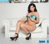 Ann Denise teasing in her sexy aqua green lingerie 6