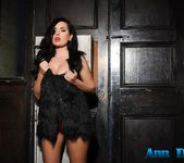 Ann Denise wearing black fur top and pink lingerie 3