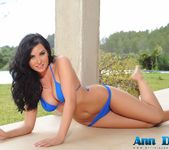 Ann Denise teasing outdoors in her blue bikini 7