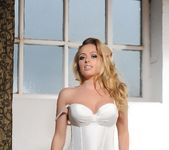 Holly Gibbons in white corset and black stockings 4