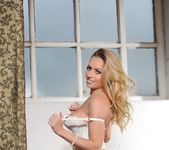 Holly Gibbons in white corset and black stockings 9