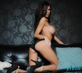 Jennifer Ann teasing on the black sofa 10
