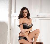 Jennifer Ann teasing in her black and grey lingerie 8