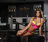 Sarah teases in her pink and yellow lingerie 4
