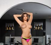 Sarah teases in her pink and yellow lingerie 12
