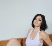Summer teases on the couch in her see through white top 2