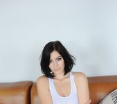 Summer teases on the couch in her see through white top 7