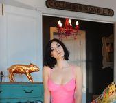 Summer teasing in her pink bodysuit 5