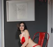 Summer teases in her red bras and panties 3