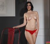 Summer teases in her red bras and panties 9