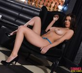 Summer teasing in blue lingerie in the lounge 13