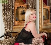 Sophie May - blonde mature in fishnets 4