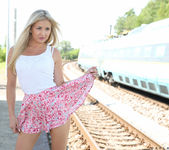 Cayla Lyons naked at the railway station 3