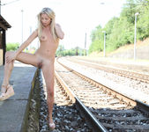 Cayla Lyons naked at the railway station 10