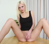 Anna Dambro - blonde slipping out of her black dress 9