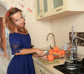 Gina Paige spreading in the kitchen 2