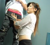Rui Aikawa Asian chick in miniskirt gives sensual blow job 4