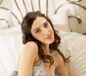 Deena D looking sensual on her soft White bed - Spinchix 4