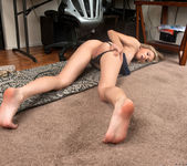 Rachel James beaing naughty at the workstation 8