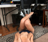 Rachel James beaing naughty at the workstation 12
